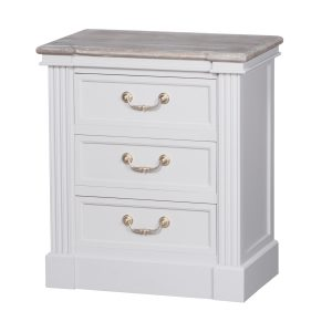 18875 Classic White Grey 3 Drawer Bedside Table