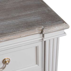 18875-b Classic White Grey 3 Drawer Bedside Table