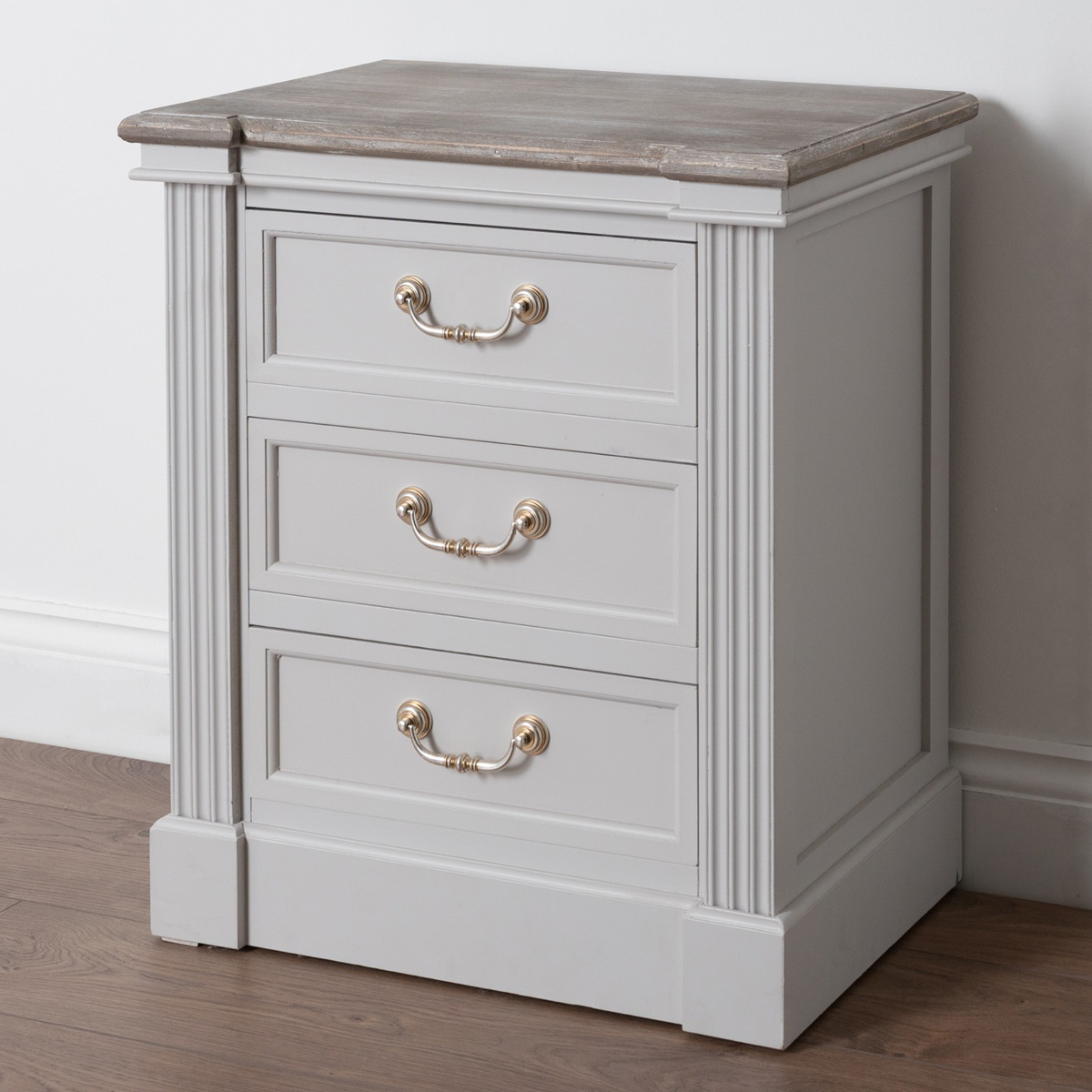 Classic White Grey 3 Drawer Bedside Table Interior Flair