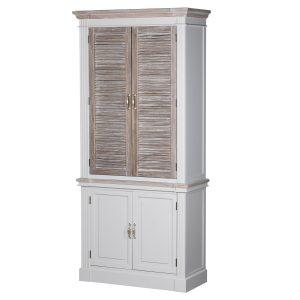 18879 Large Wooden Grey Wash Linen Cupboard