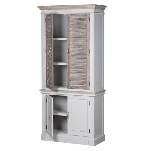 18879-a Large Wooden Grey Wash Linen Cupboard