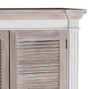 18879-b Large Wooden Grey Wash Linen Cupboard