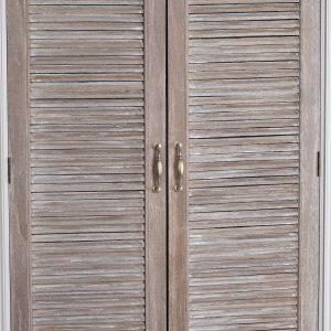 18879-d Large Wooden Grey Wash Linen Cupboard