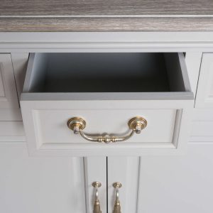 18885-b Classic Style White Grey Wooden Cabinet