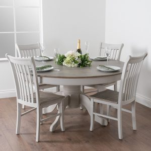 18887-c Large Classic Grey Dining Round Table