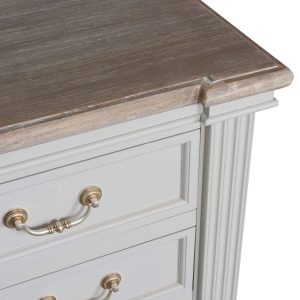 18890-a Classic Style White Grey Chest of 5 Drawers