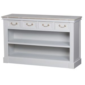 18891 Classic Grey White Wooden Low Bookcase