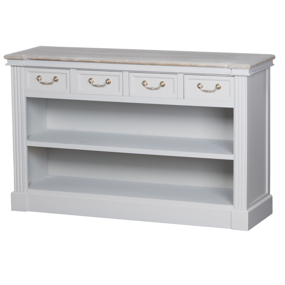 Classic Grey White Wooden Low Bookcase