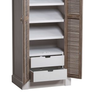 18893-d Tall White Grey Shoe Storage Cupboard