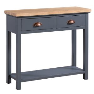 19311 Slate Grey Copper 2 Drawers Console Table