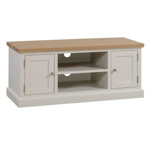 19326 Farmhouse Style White Wood Silver TV Unit