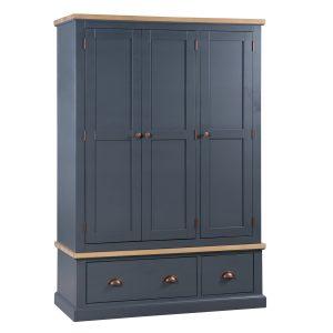 19488 Slate Grey Industrial Copper Wooden Wardrobe