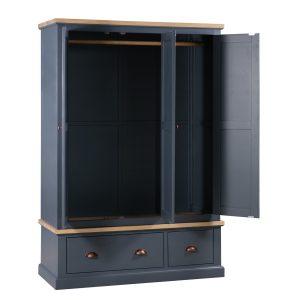 19488-a Slate Grey Industrial Copper Wooden Wardrobe