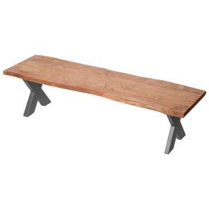 19744 Contemporary Rustic Acacia Wood Grey Bench