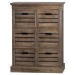 19815 Crate Style Wooden Chest of 6 Drawers