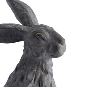 19842-a Large Natural Grey Sitting Hare Statue