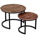 19988 Set of 2 Industrial Style Round Tables
