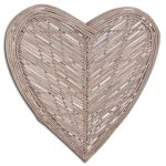 20064 Extra Large Grey Wicker Heart Decoration