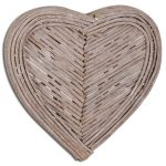 20065 Distressed Grey Wicker Heart Wall Decoration