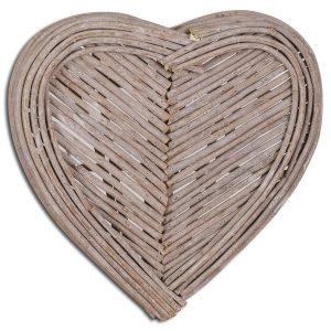 20065 Distressed Grey Wicker Heart Wall Decoration