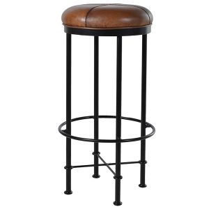 EUR046 Sturdy Light Brown Black Bar Stool