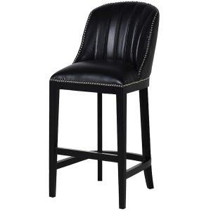 MEY431 Upholstered Black Leather Bar Stool