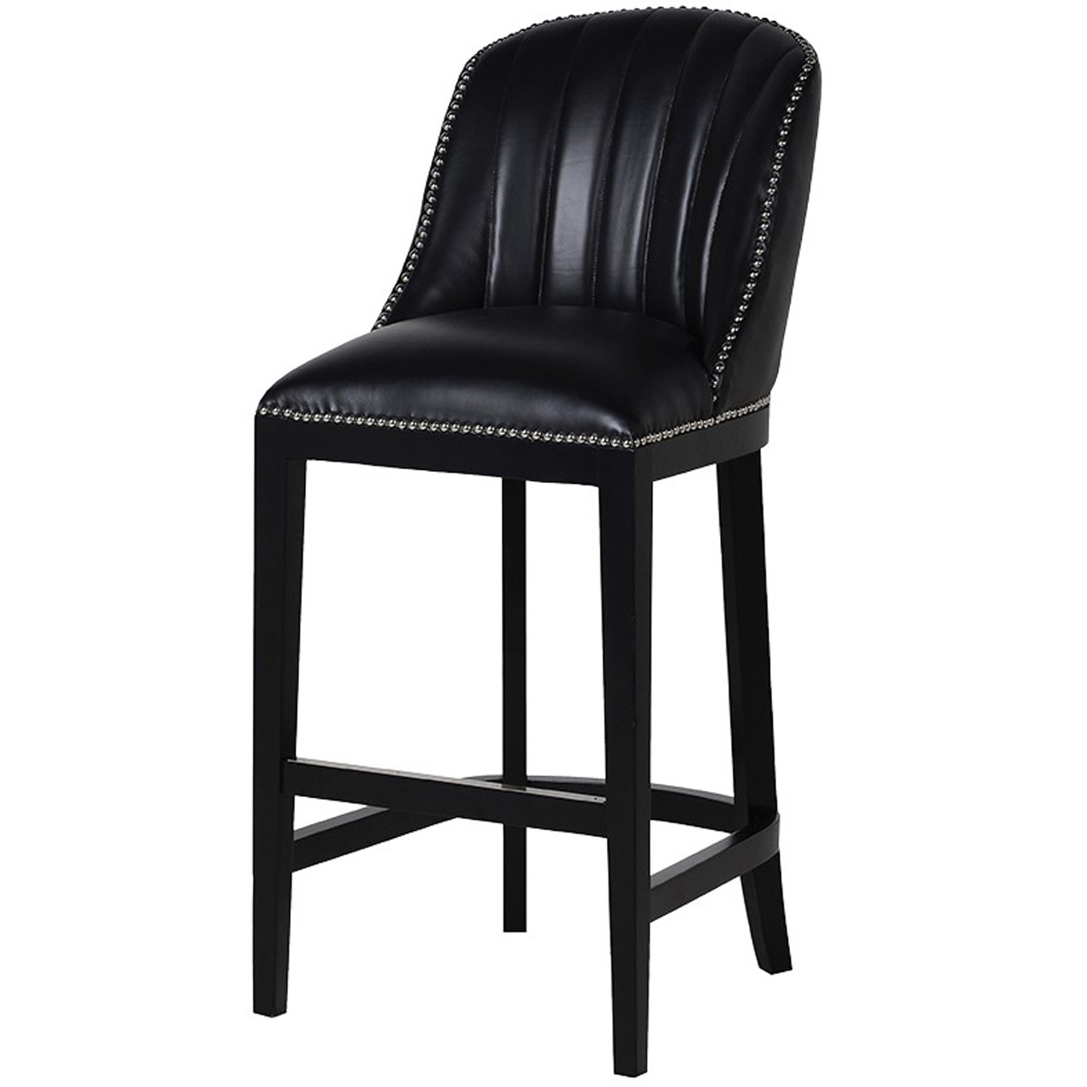 Picture of: Upholstered Black Leather Bar Stool Interior Flair