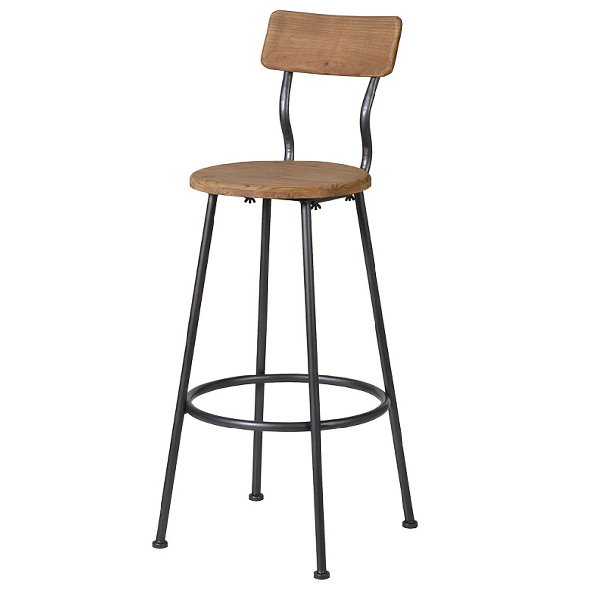 Astounding Vintage Style Wood Grey Metal Bar Stool Caraccident5 Cool Chair Designs And Ideas Caraccident5Info