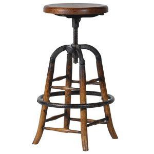 WES012 Adjustable Oak Round Bar Stool
