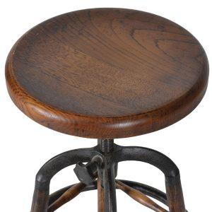wes012_2_Adjustable Oak Round Bar Stool