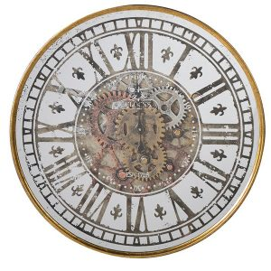 FXH013 Decorative Cogs White Gold Wall Clock