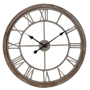 LCK490 Antique Style Cut Out Brown Wall Clock