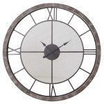 MJD015 Extra Large Wooden Grey Mesh Clock