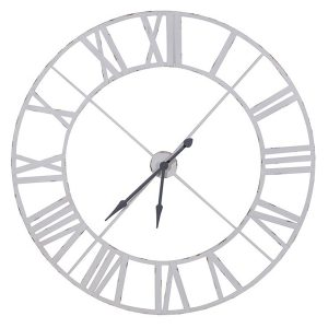 STN1068 Extra Large White Metal Outline Wall Clock