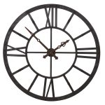 STN1184 Extra Large Distressed Metal Grey Clock