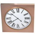 STN1228 Extra Large Copper Frame Square Clock