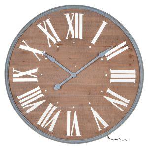 STN1302 Brown Wooden Light Round Wall Clock