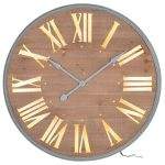 stn1302_2_Brown Wooden Light Round Wall Clock