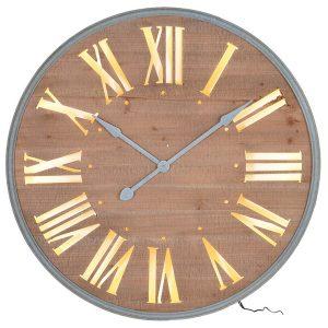 stn1302_2_Brown Wooden Light Round Wall Clock