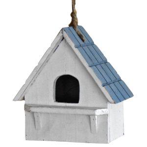 1255 Vintage Style White Blue Bird House