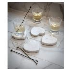 16SS20Set of 4 Heart White Marble Coasters