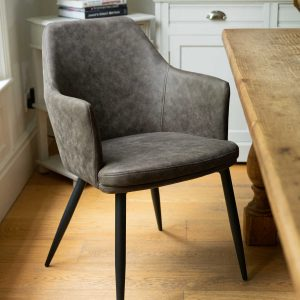 20042-c Contemporary Grey Carver Dining Chair