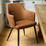 20043-c Tan Brown Carver Dining Chair