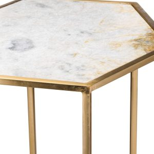20372-a Hexagonal Gold Metal Marble Side Table