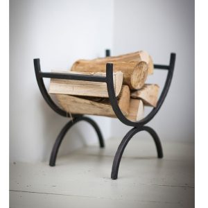 LOHO01_c Contemporary Wrought Iron Grey Log Holder