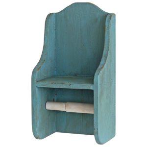 1601 Blue Grey Wooden Toilet Roll Holder