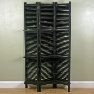 1637 Charcoal Grey Shelves Room Screen