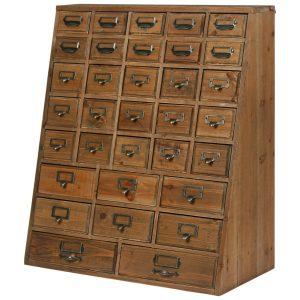 1668 Vintage Brown Wood Chest of Drawers