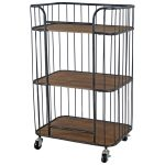 1669 Vintage Brown Shelf Unit with Wheels