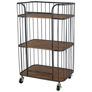 1669 Vintage Brown Shelf Unit with Wheels